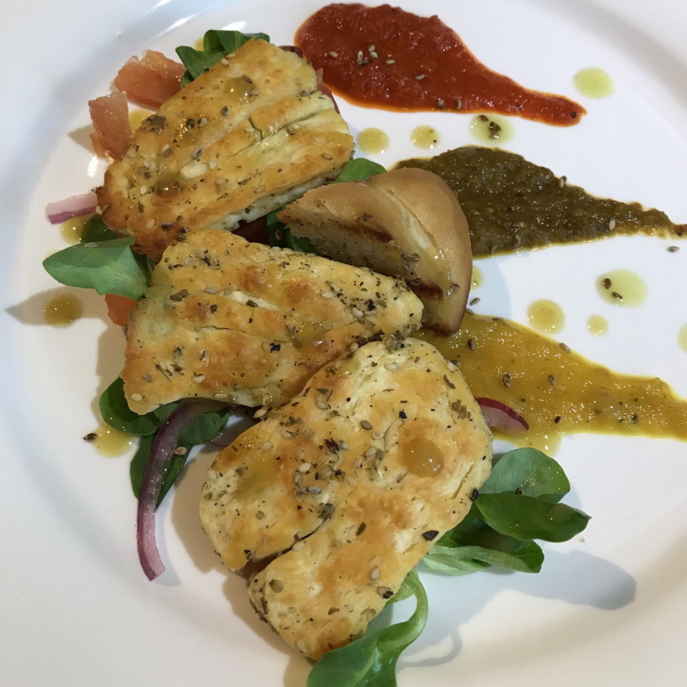 Grilled Halloumi with Tomatoes, Sweet Peppers and Shallots 20180430