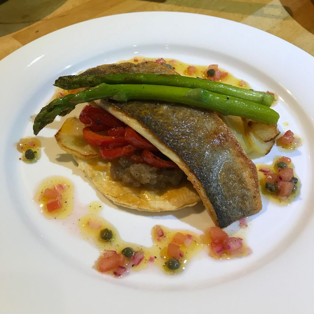Sea Bass with Onions and Sweet Peppers - 20180822