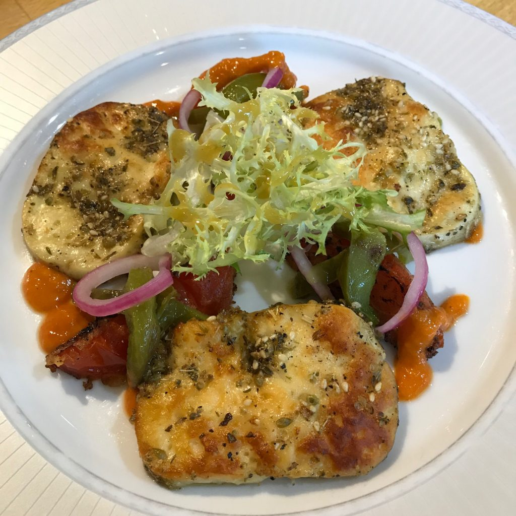 Grilled Halloumi with Tomatoes, Sweet Peppers and Shallots 20180903