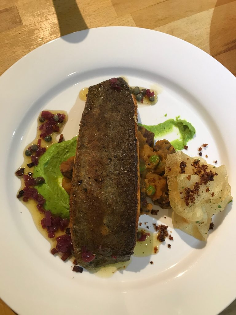 20190425 - Pan-fried Fillet of Scottish Trout with Chorizo Fricassee and Peas