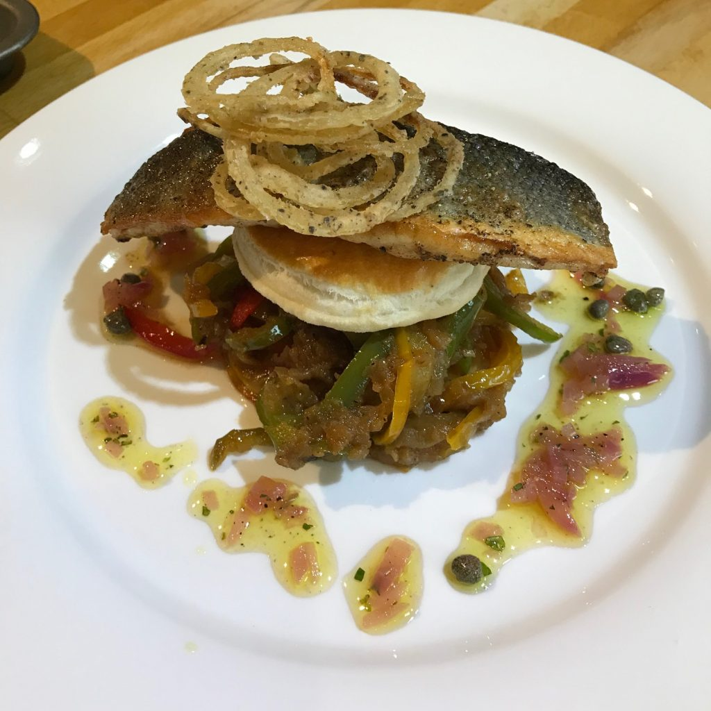 20190508 - Pan-fried Sea Bass with Caramelised Onions