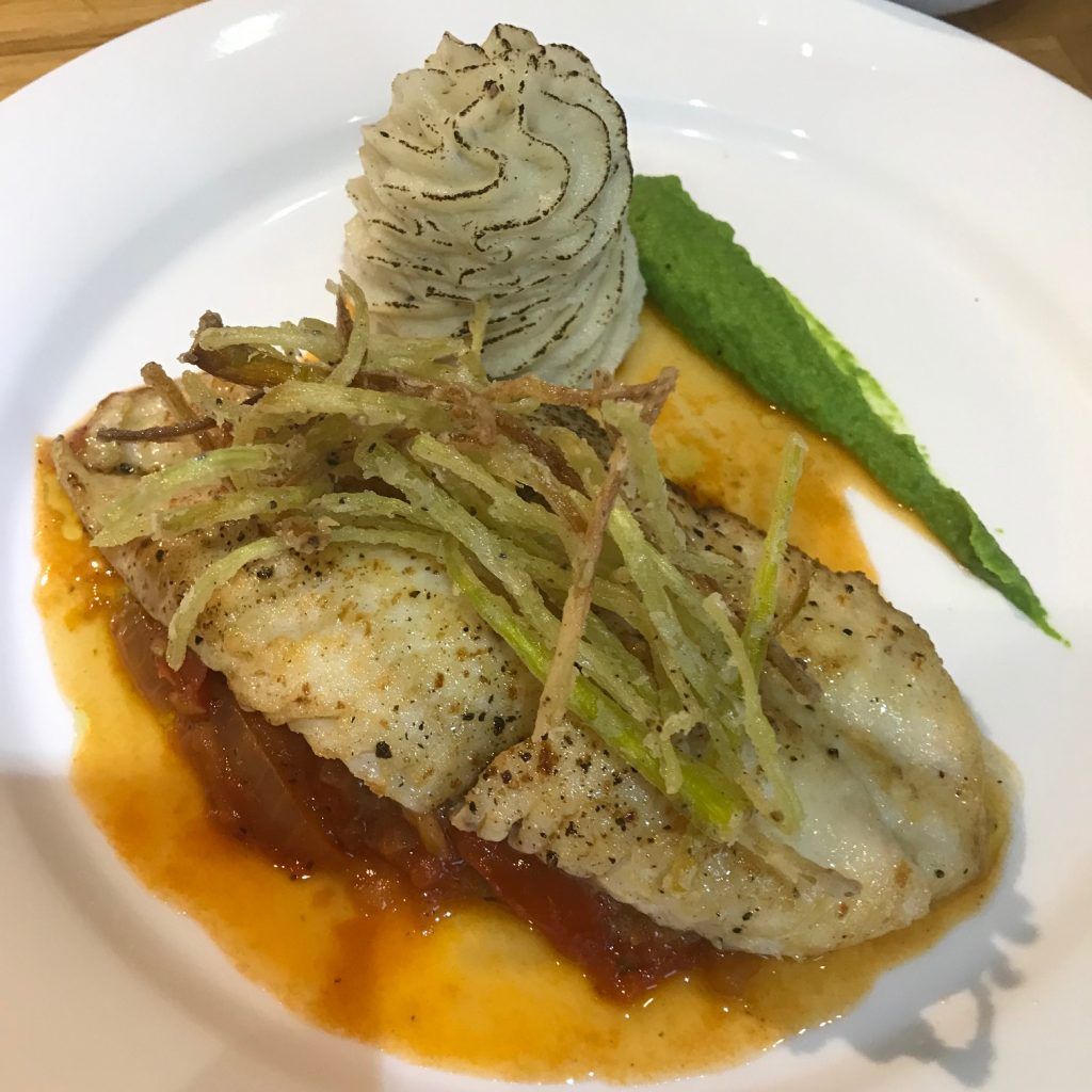 20190509 - Fillet of Haddock with Stewed Tomatoes, Pesto and Onions