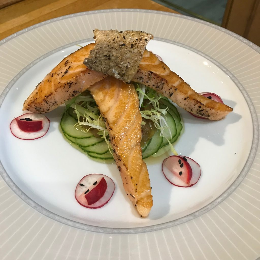 20190509 - Seared Black Peppered Salmon with Cucumber Pickle