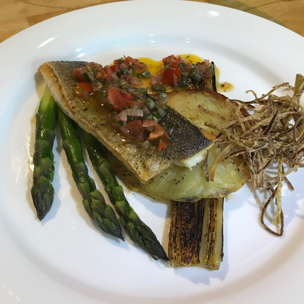 20190611 - Sea Bass with Sauce Vierge and Charred Leeks