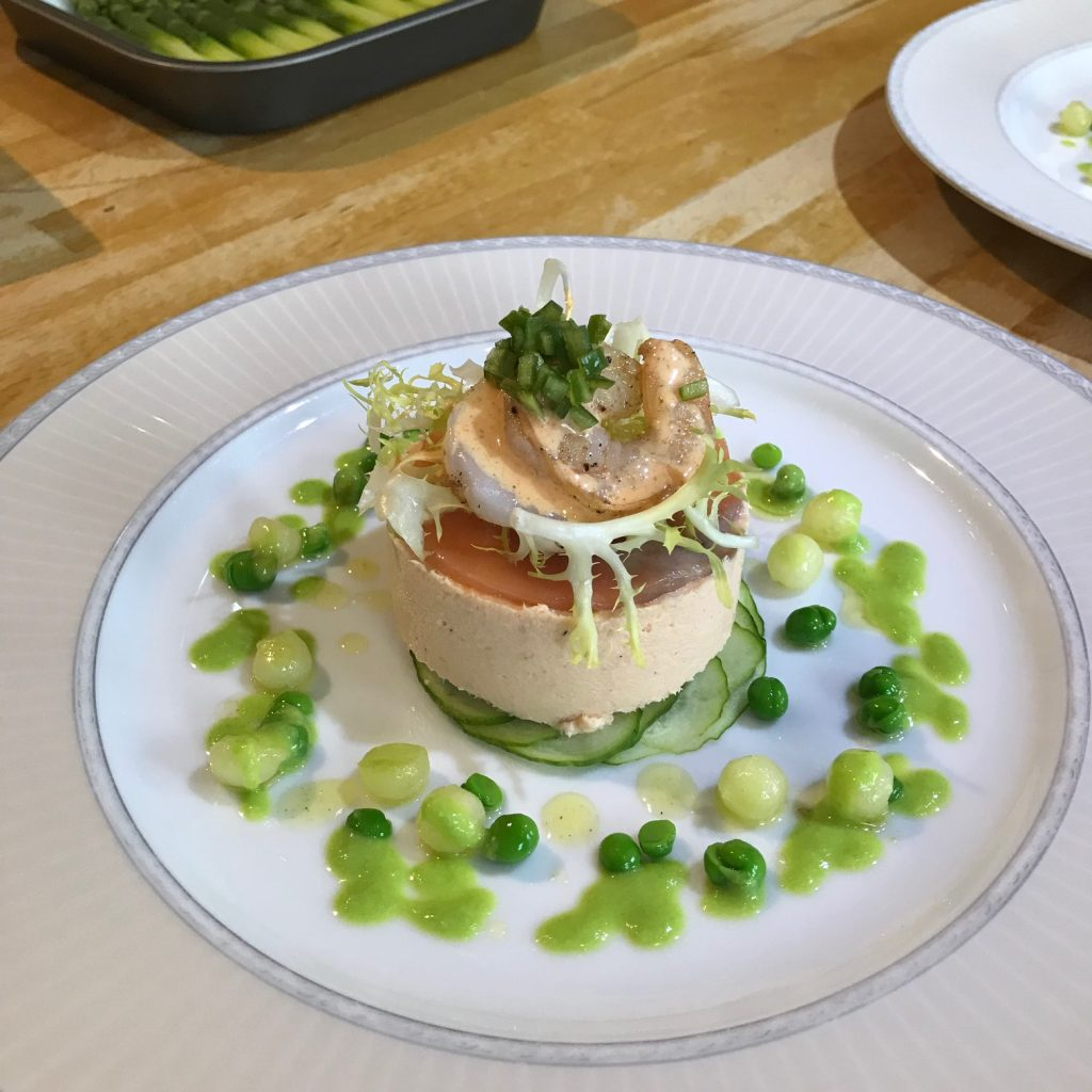 20190611 - Smoked Salmon Mousse with Prawns, Cucumber and Pea Dressing