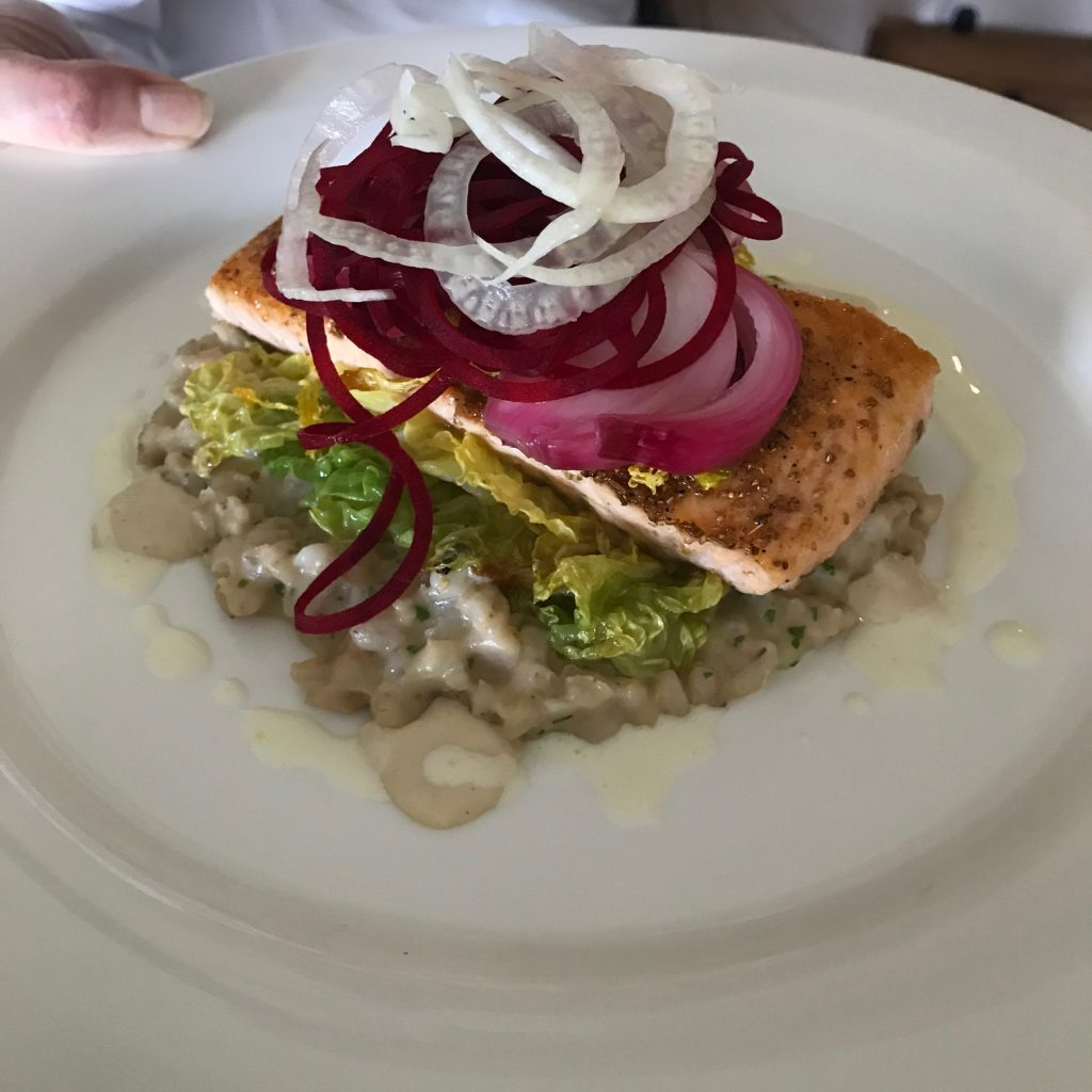 20190613 - Salmon with Creamed Barley, Savoy Cabbage & Horseradish