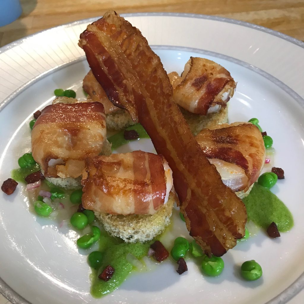 20190617 - Prawns with Chorizo, crispy Pancetta and Peas