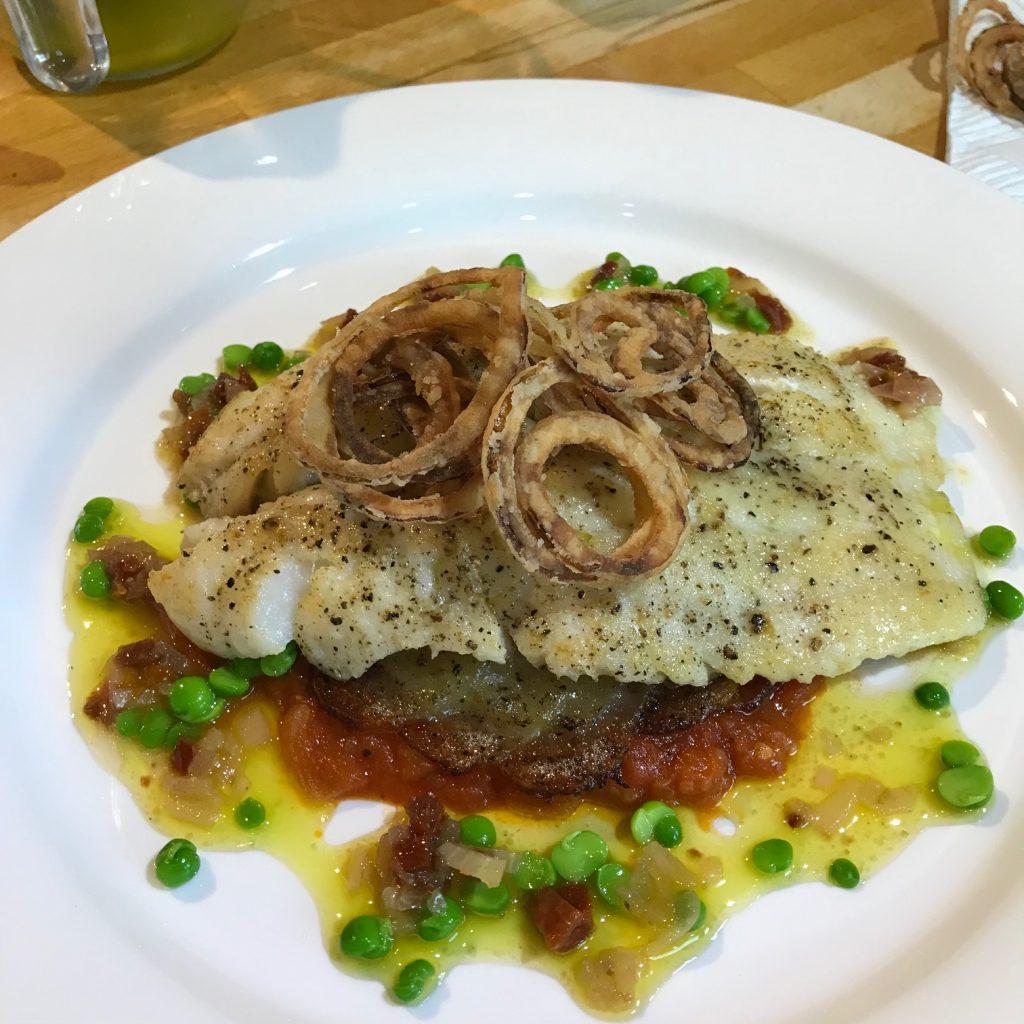 20190620 - Haddock with Stewed Tomatoes, Pesto & Crispy Onions