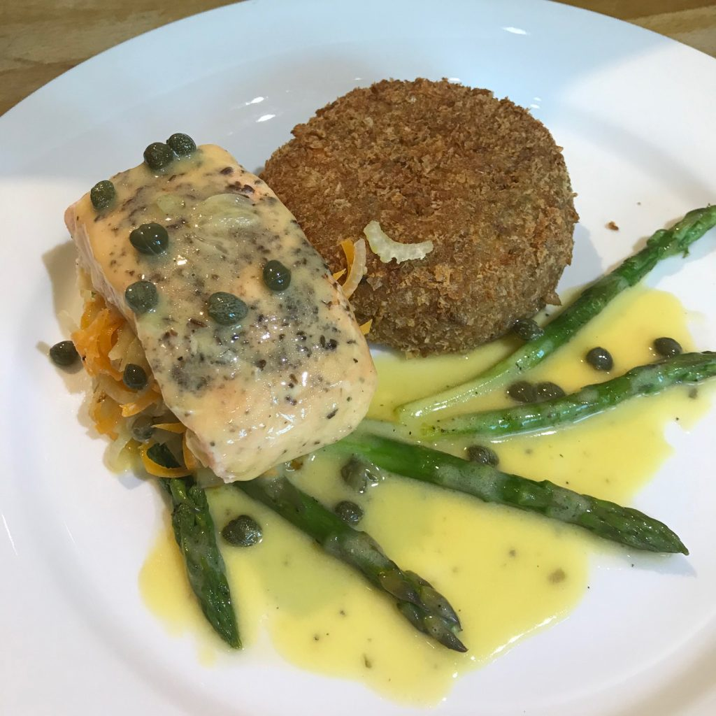 20190625 - Salmon with Salmon Fishcake and a Lemon & Caper Butter Sauce