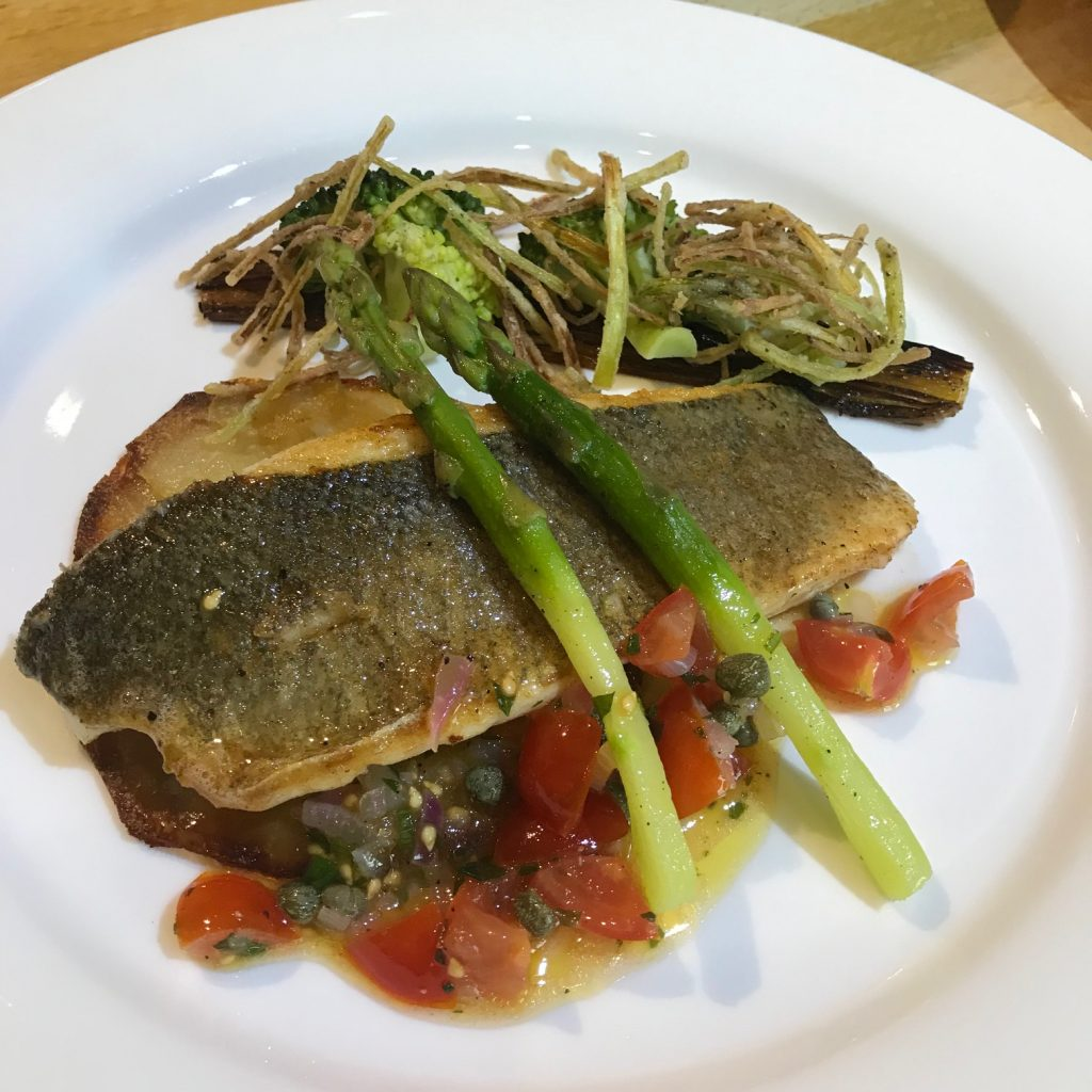 20190701 - Sea Bass with Sauce Vierge and Charred Leeks