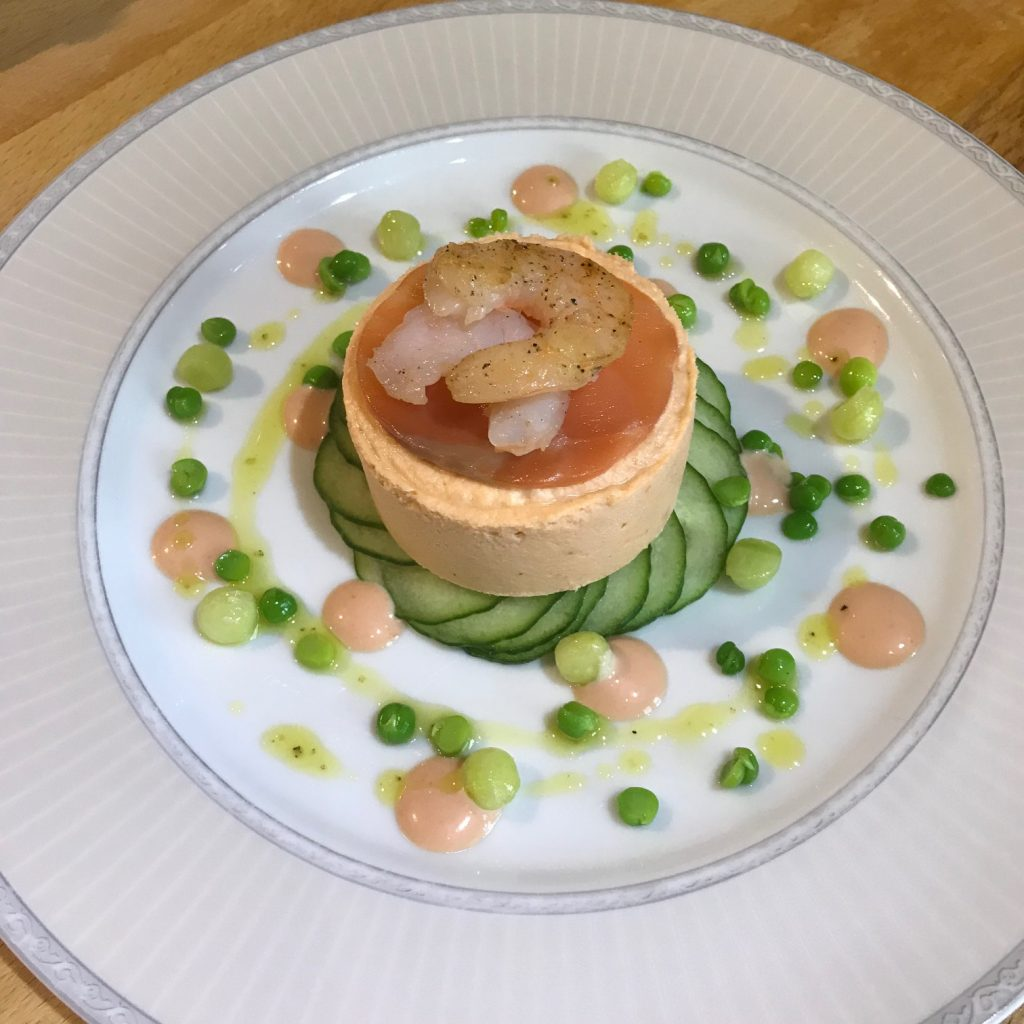 20190701 - Smoked Salmon Mousse with Prawns, Cucumber and Pea Dressing