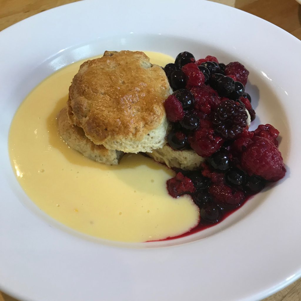 20190701 - Walnut Butter Scones with warm Berries and Orange Double Cream Custard