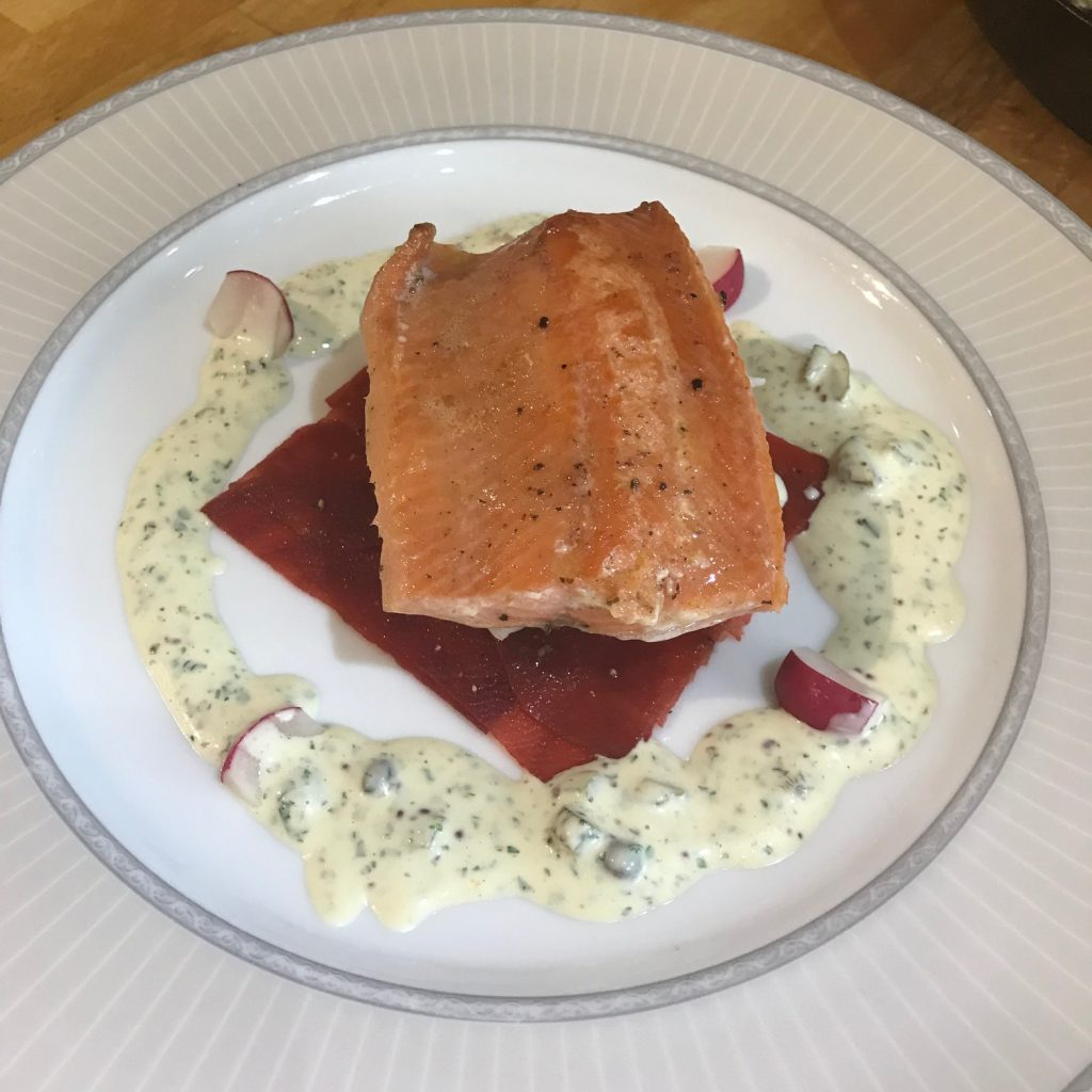 20190712 - Fillet of Smoked Scottish Trout with Beetroot & Mustard and Caper Sauce