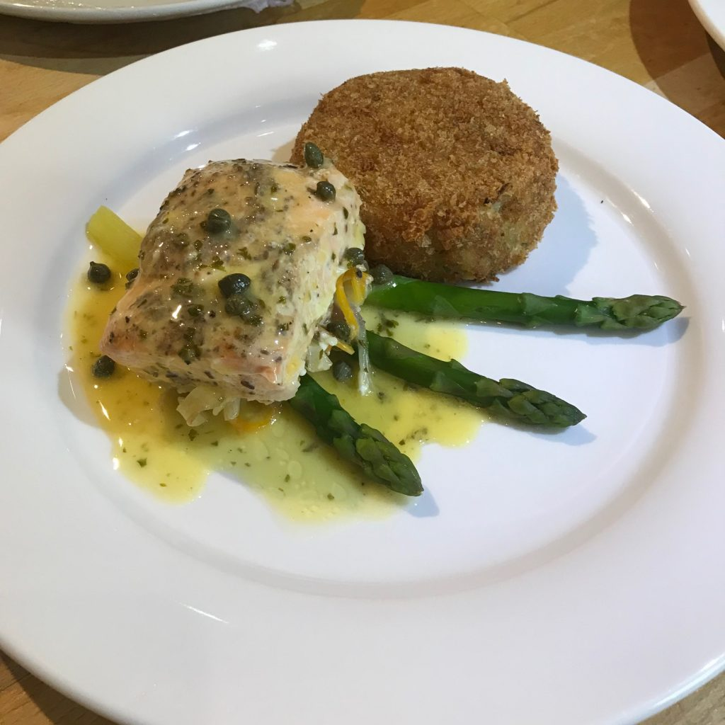 20190716 - Salmon with Salmon Fishcake and a Lemon & Caper Butter Sauce