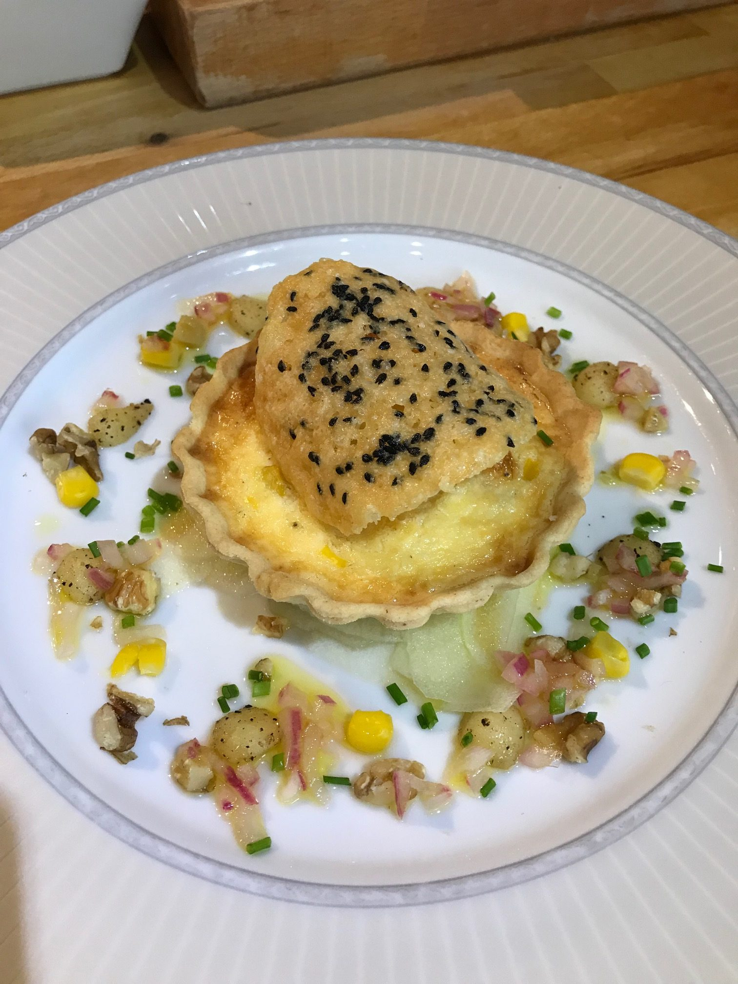 20190807 - Sweetcorn Tart with Apple and Walnut Dressing