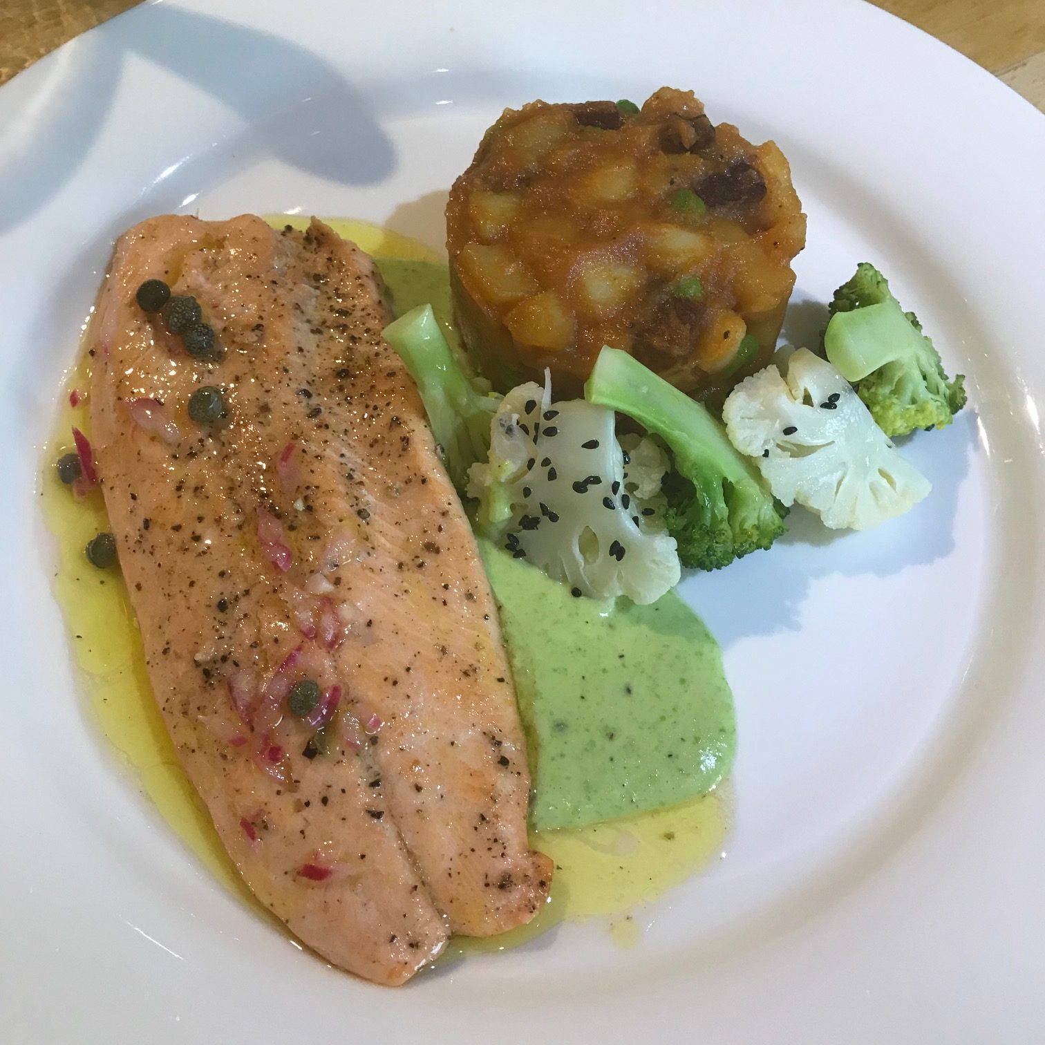 20190808 - Trout with Chorizo Fricassee & Peas