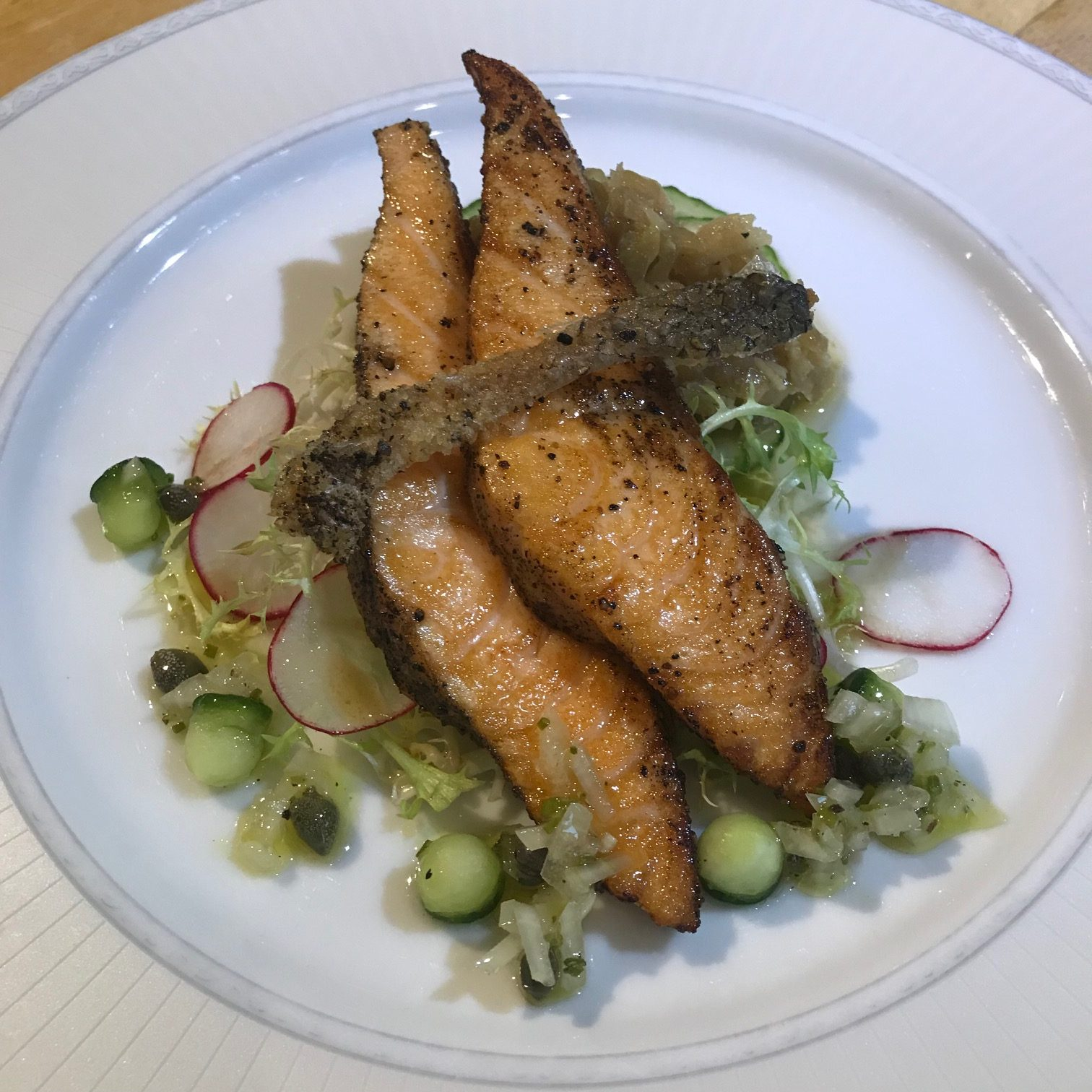 20190912 - Seared Black Peppered Salmon with Cucumber Pickle